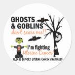 Halloween 1 Uterine Cancer Warrior Round Stickers