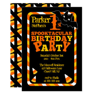 Halloween 1st Spooktacular Birthday Party Invitation