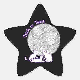 Halloween 3 gatos calcomania forma de estrella personalizadas