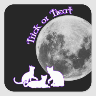 Halloween 3 gatos pegatinas cuadradas personalizadas