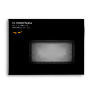 Halloween 5x7 Invite Black and Orange Eye Envelope