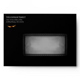 Halloween 5x7 Invite Black and Orange Eye Envelope