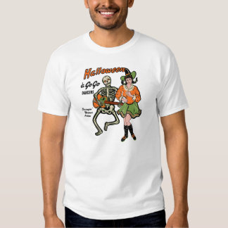 Halloween A Go-Go Dancers Skeleton and Witch Tee Shirt