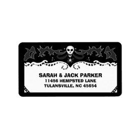 Halloween Address Label - Black & White Skull