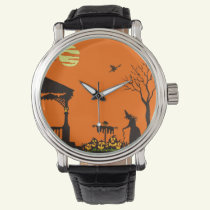 Halloween,adult,watch,silhouette,witch,haunted Wrist Watch