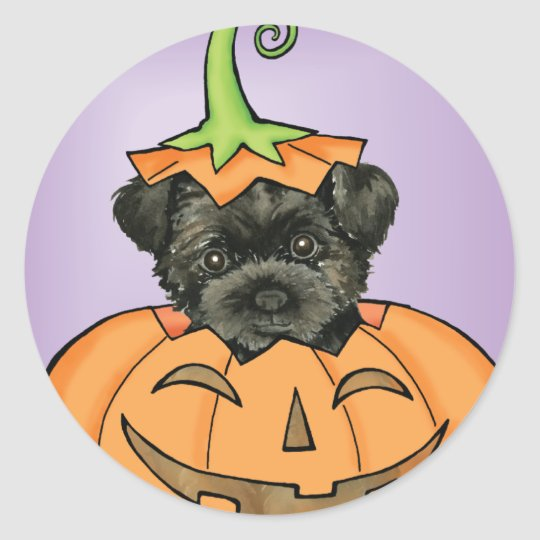 Halloween Affenpinscher Classic Round Sticker