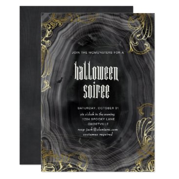 Halloween Themed Halloween Agate and Gold HalloweenParty Invitation