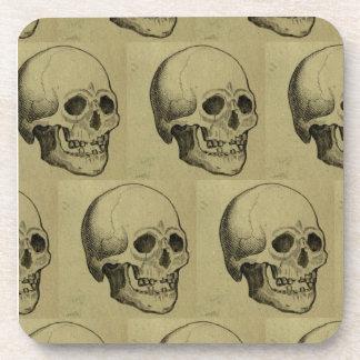 Halloween Aged Spooky Skulls Pattern Beverage Coaster