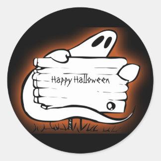 Halloween agradable fantasmal etiquetas redondas