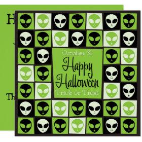 Halloween alien mosaic invitation