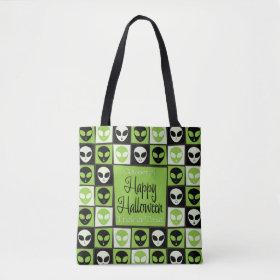 Halloween alien mosaic tote bag