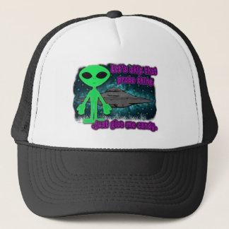 halloween alien trucker hat