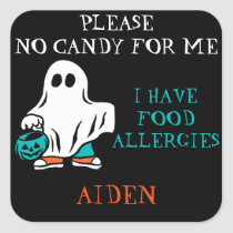 Halloween Allergy Alert Ghost Do Not Feed Kids Square Sticker