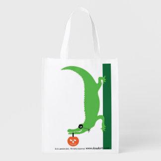 Halloween Alligator Grocery Bag
