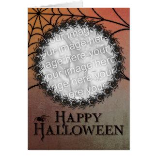 Halloween AÑADE SU marco de la araña de la viuda Tarjeta De Felicitación