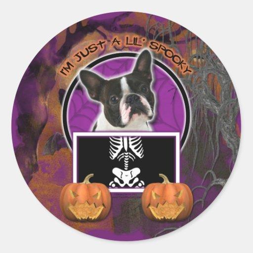 Halloween - apenas un Lil fantasmagórico - Boston Etiquetas Redondas