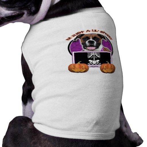 Halloween - apenas un Lil fantasmagórico - boxeado Playera Sin Mangas Para Perro