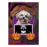 Halloween - apenas un Lil fantasmagórico - ShihPoo Tarjeta De Felicitación