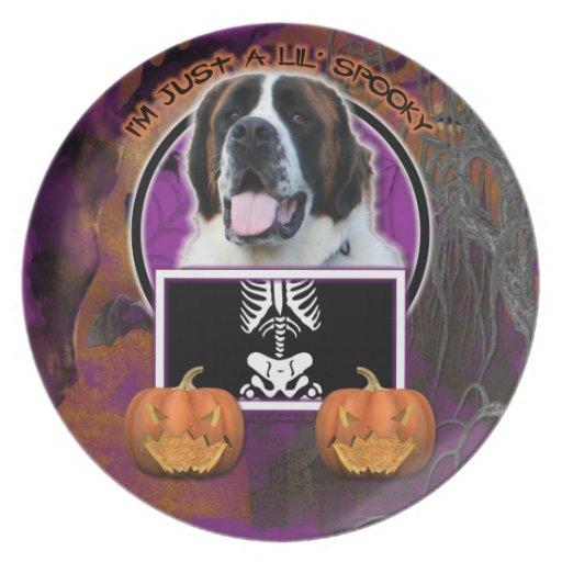 Halloween - apenas un Lil fantasmagórico - St Bern Plato De Comida