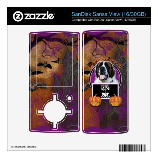 Halloween - apenas un Lil fantasmagórico - St Bern SanDisk Sansa View Calcomanías