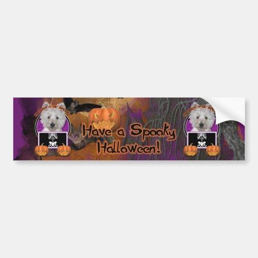 Halloween - apenas un Lil fantasmagórico - Westie  Pegatina De Parachoque