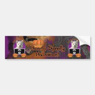 Halloween - apenas un Lil fantasmagórico - Westie Pegatina Para Auto