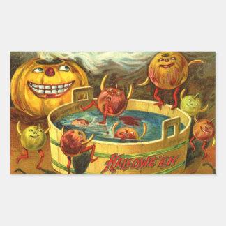 Halloween Apple Bobbing Rectangular Sticker