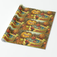 Halloween Apple Bobbing Wrapping Paper