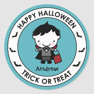 Halloween Themed Halloween Aqua Treat Bag Sticker Label