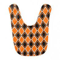 Halloween Argyle - Black & Orange Diamonds Bib
