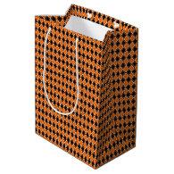Halloween Argyle - Black & Orange Diamonds Medium Gift Bag