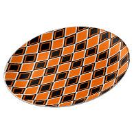 Halloween Argyle - Black & Orange Diamonds Porcelain Plates