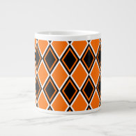 Halloween Argyle - Black & Orange Diamonds 20 Oz Large Ceramic Coffee Mug