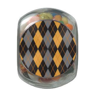 Halloween Argyle Orange and Black Pattern Jelly Belly Candy Jars