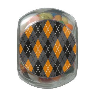 Halloween Argyle Orange and Grey Pattern Glass Candy Jar