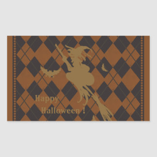 Halloween Argyle Rectangular Sticker