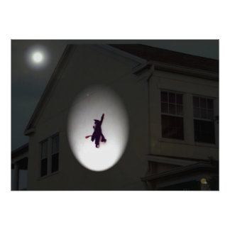 Halloween Art Witch flying into wall fall humor Poster