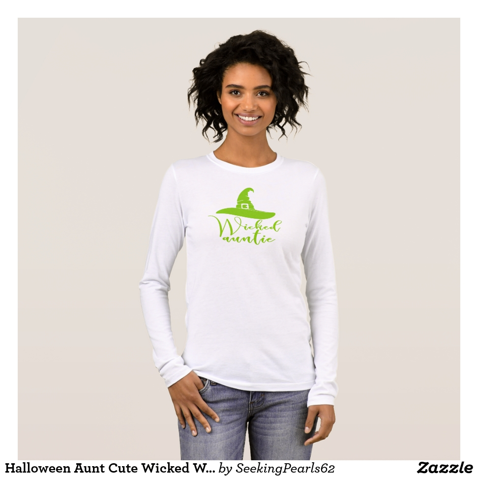 Halloween Aunt Cute Wicked Witch Hat Auntie Green Long Sleeve T-Shirt - Best Selling Long-Sleeve Street Fashion Shirt Designs