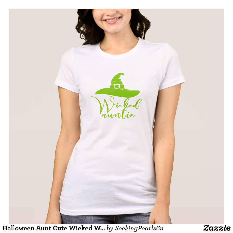 Halloween Aunt Cute Wicked Witch Hat Auntie Green T-Shirt - Best Selling Long-Sleeve Street Fashion Shirt Designs