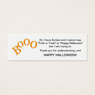 Halloween Autism Trick or Treat Cards Boo