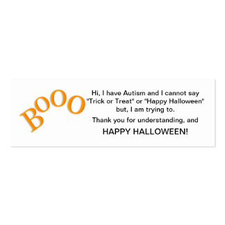 Halloween Autism Trick or Treat Cards Boo Double-Sided Mini Business Cards (Pack Of 20)