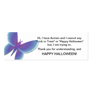 Halloween Autism Trick or Treat Cards Butterfly Mini Business Card