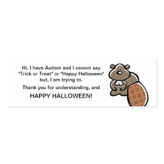 Halloween Autism Trick or Treat Cards Double-Sided Mini Business Cards (Pack Of 20)