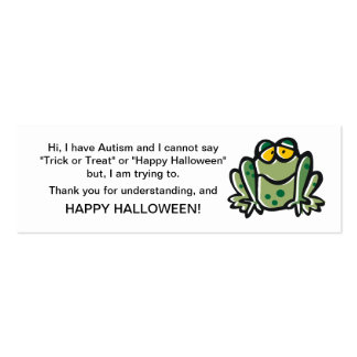 Halloween Autism Trick or Treat Cards Frog Mini Business Card