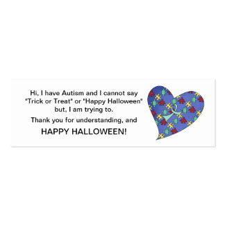 Halloween Autism Trick or Treat Cards Heart Mini Business Card