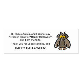 Halloween Autism Trick or Treat Cards Owl Business Card Templates