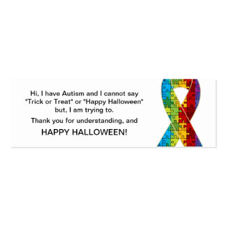 Halloween Autism Trick or Treat Cards Ribbon 2 Mini Business Card