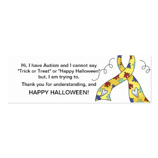 Halloween Autism Trick or Treat Cards Ribbon 3 Business Card Template