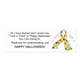 Halloween Autism Trick or Treat Cards Ribbon 4 Mini Business Card
