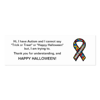 Halloween Autism Trick or Treat Cards Ribbon Mini Business Card